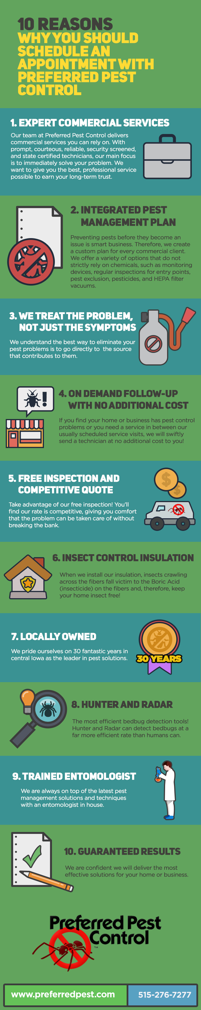 10 Reasons Why you Should Schedule an Appointment with Preferred Pest Control